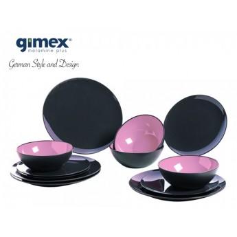 Zestaw obiadowy GreyLine jasnoróżowy 12 el. - Gimex