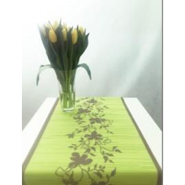 Bieżnik dekoracyjny MIAMI, zielony w listki  40x150cm