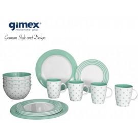Zestaw obiadowy Dots&Stripes zielony 16el. Gimex melamina
