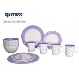 Zestaw obiadowy Dots&Stripes lila 16el. Gimex melamina