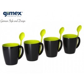 Gimex - Zestaw kubków z łyżeczkami Grey Line zielony 4 sztuki