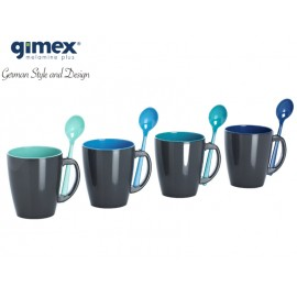 Melamina Gimex - Zestaw kubków z łyżeczkami Delfin Grey 4 szt.