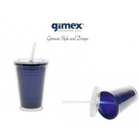Kubek ze słomką granatowy - Gimex melamina