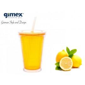 Kubek ze słomką żółty 1szt - Gimex