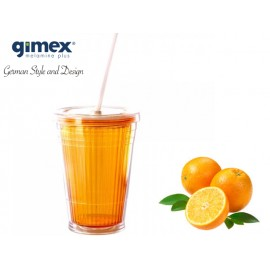Kubek ze słomką pomarańczowy 1 sztuka - Gimex