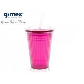 Kubek ze słomką różowy 1 sztuka - Gimex