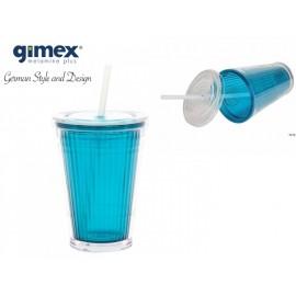 Kubek ze słomką turkusowy 1 sztuka - Gimex