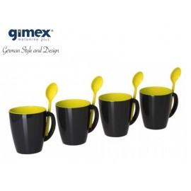 Zestaw kubków z łyżeczkami GreyLine żółte 4 szt. Gimex