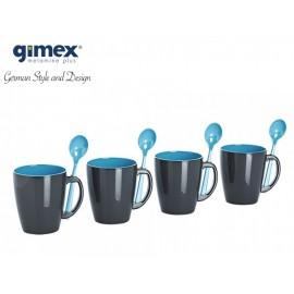 Zestaw kubków z łyżeczkami GreyLine turkusowy 4 szt. - Gimex