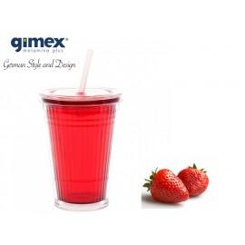 Kubek ze słomką czerwony 1szt melamina Gimex