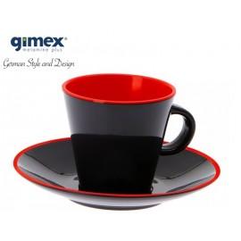 Zestaw filiżanek do espresso szaro-czerwone 2szt-Gimex