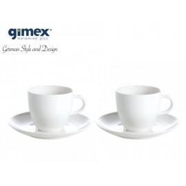 Zestaw filiżanek białych ze spodkiem 2szt. melamina Gimex