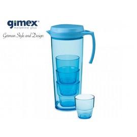 Dzbanek + 4 szklaneczki niebieski - Gimex melamina