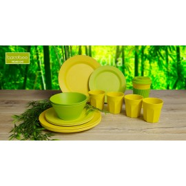 Zestaw sztućców sałatkowych żółtych - Gimex