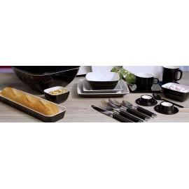 Talerz obiadowy Quadrato Black&White 1szt melamina Gimex