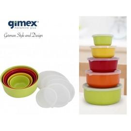 Zestaw 5 misek z przykrywkami Rainbow - Gimex melamina