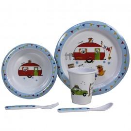 Zestaw obiadowy dla dzieci Charlie&Friends 5el. melamina Flamefield
