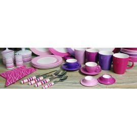 Zestaw 4 łyżeczek do herbaty różowych z serii Purple Rain melamina Gimex