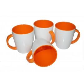 Zestaw kubków biało pomarańczowe 4szt. melamina Gimex