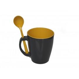 Kubek z łyżeczką GreyLine żółty 1szt. Gimex melamina