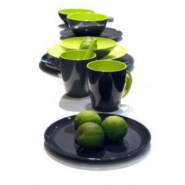 Kubek z łyżeczką GreyLine zielony 1szt. Gimex melamina