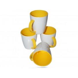 Zestaw kubków biało żółtych 4szt. melamina Gimex