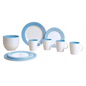 Zestaw obiadowy Stripes błękitny 16el. melamina Gimex