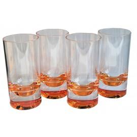Zestaw szklanek czerwone dno 4szt. melamina Flamefield