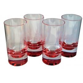 Zestaw szklanek pomarańczowe dno 4szt. melamina Flamefield