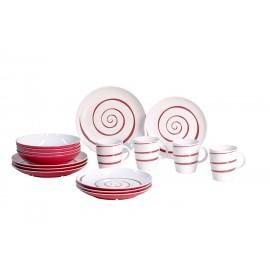 Zestaw obiadowy antypoślizgowy Twist Red 16el. melamina Gimex