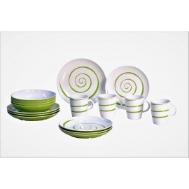 Zestaw obiadowy antypoślizgowy Twist Green 16el. melamina Gimex