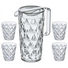 Dzbanek Crystal w zestawie z 4 szklankami