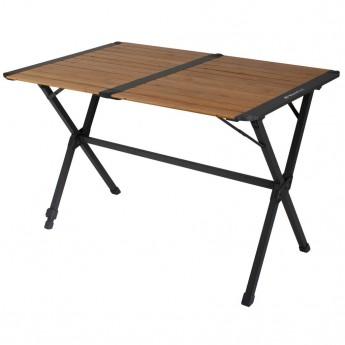 Stół z aluminiowa rama i bambusowym blatem