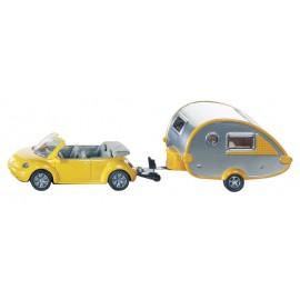 Zabawka dla dziecka VW Beetle kabriolet z przyczepą kempingowej