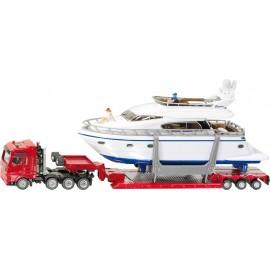 Zabawka dla dziecka ciężarówka z jachtem